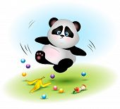 The Fat And Clumsy Bear Of A Panda Falls Due To Garbage. The Animal Slipped On The Peel From The Ban poster