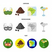 Brazil, Country, Mask, Carnival . Brazil Country Set Collection Icons In Cartoon, Flat, Monochrome S poster