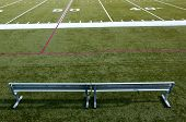 stock photo of football field  - a green football stadium and bench in ca - JPG
