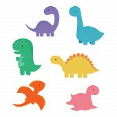 Funny Dinosaur Cartoon Group, Fashion For The Baby, Cute Dinosaur Card For Any Design poster