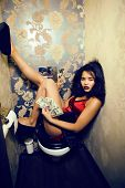 Pretty Young African American Woman In Luxury Restroom With Money, Like Prostitute, Dirty Cash Conce poster