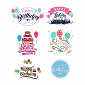 Happy Birthday Vintage Isolated Label Set Vector Illustration. Birthday Party Logo With Balloon, Hol poster