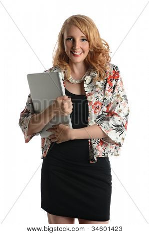 Portrait of businesswoman holding laptop isolated over white background