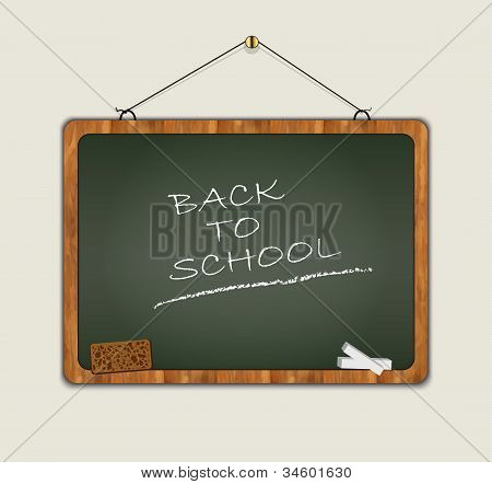 blackboard back to school wood frame green