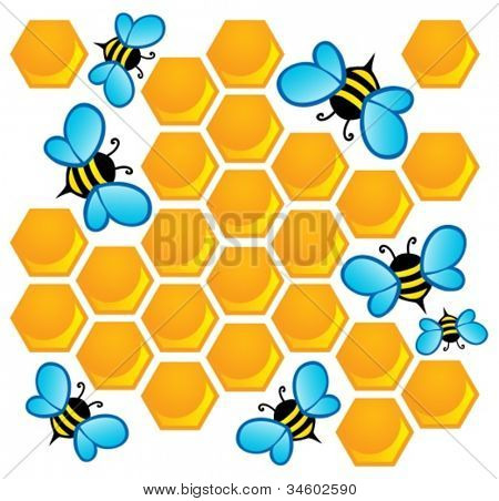 Bee theme image 1 - vector illustration.