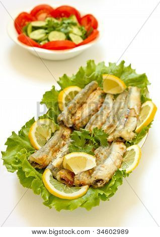 Grilled Capelin and vegetable salad
