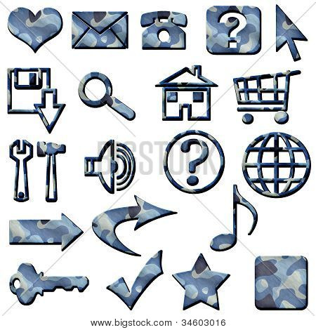 Blue Camouflage Masculine Website Icons Buttons Navigation