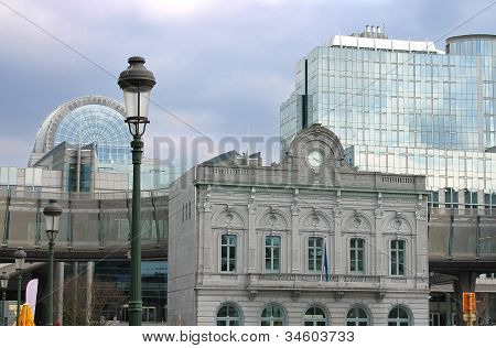 Old And New Buildings Of European Parliament In Brussels. Belgium