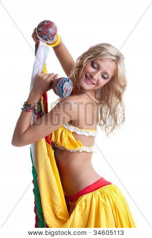 Beautiful young woman performing mexican dance