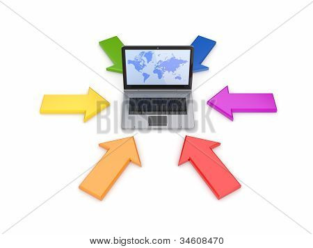 Colorful arows around modern notebook.