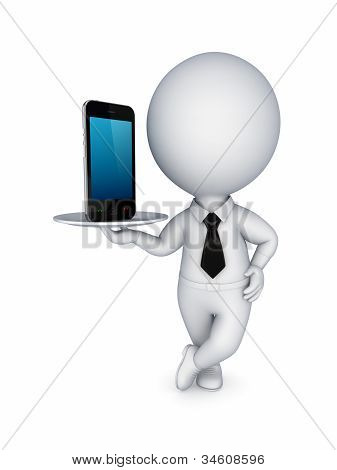 .3d small person with modern mobile phone.