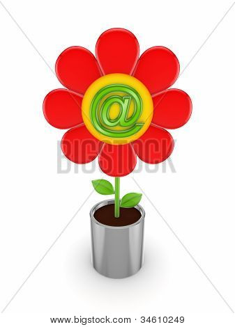 Cute flower with AT symbol.
