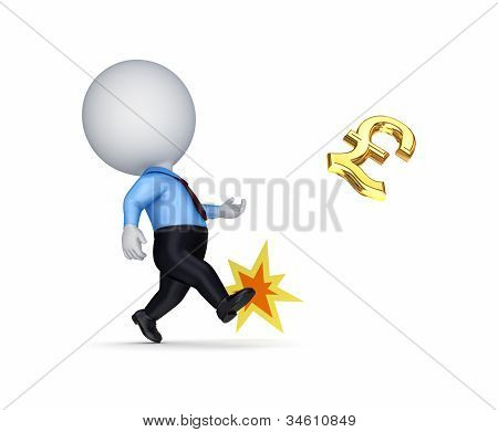 3d small person kicking a golden dollar sign.