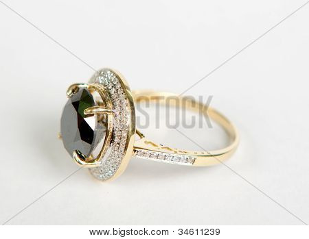 Golden Ring With Emeralds