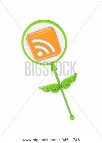 Green magic wand with RSS symbol.