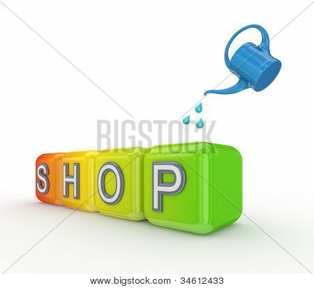 Blue bailer and colorful cubes with a word SHOP.