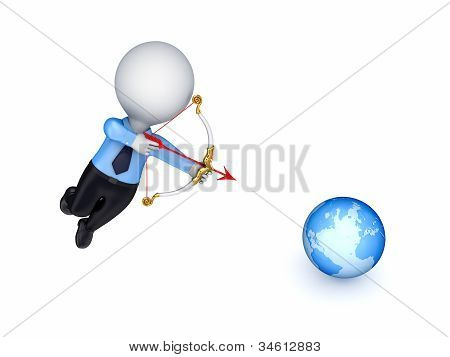 3d person shooting an arrow at a globe.
