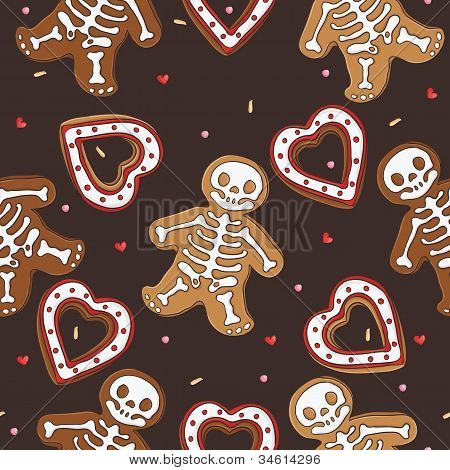 Gingerbread seamless pattern for halloween design