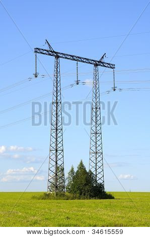 Transmission Line On A Background Of Blue Sky