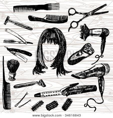 Hand Drawn Illustration of Some Barber's Stuff
