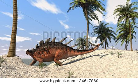 kentrosaurus on shore