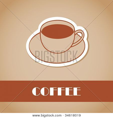 Cup of coffee. Illustration for bar or cafe