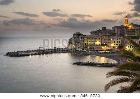 overview of Bogliasco, small village in Mediterranean sea, Italy