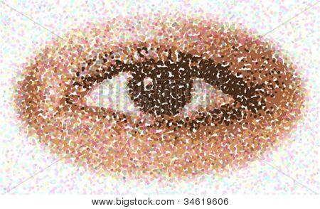 Doted eye vector illustration