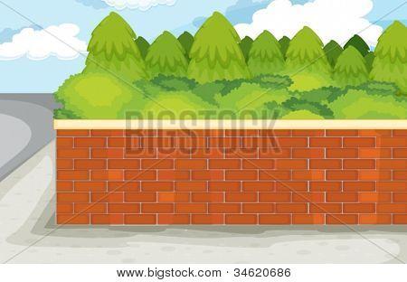 Ilustración de la pared de ladrillo sobre fondo verde de la naturaleza
