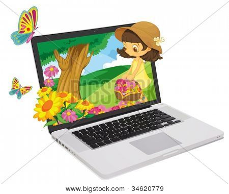 illustration of a girl and flowers out of notebook
