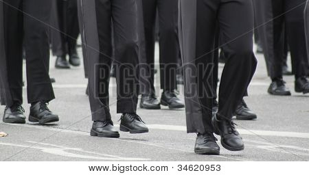 Marching band, detail of feet only