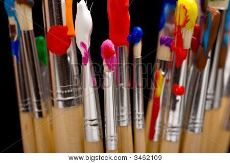 Paint Brushes On Black