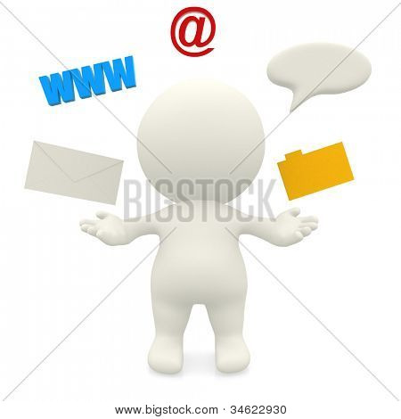 3D man with a communication system - isolate over a white background