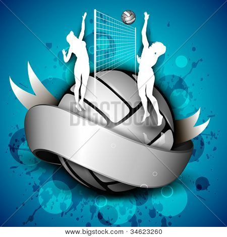 Silhouette of volley ball girls player playing volleyball ans volleyball icon with ribbon on abstract background.EPS 10.