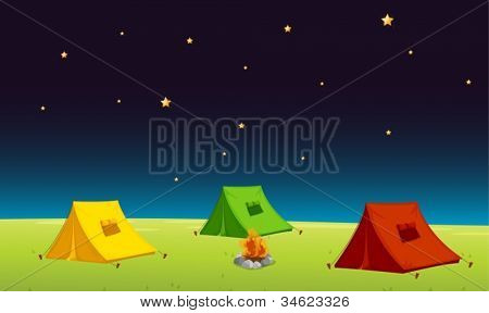 illustration of a tent house and stars in night sky