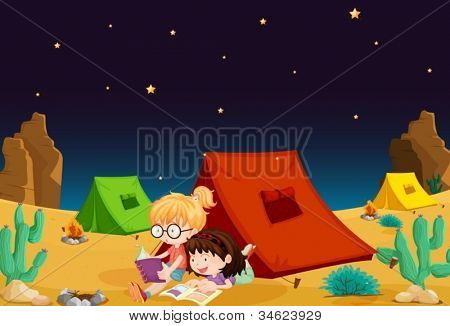 illustration of a tent house and girl reading books