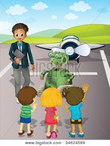 Ilustración de niños en el aeropuerto