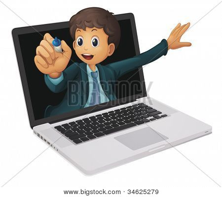 illustration of a laptop and man on a white background