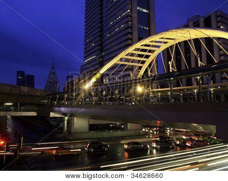 Pubic Skywalk With Modern Buildings, Bangkok, Thailand