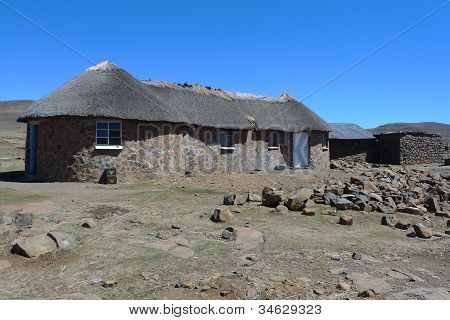 Traditional style of housing in Lesotho, Africa