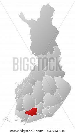 Map Of Finland, Tavastia Proper Highlighted