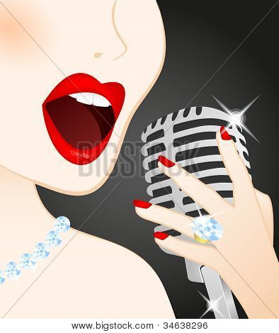 Close Up Of Beautiful Woman Singing In Microphone