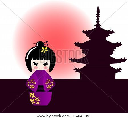 Kokeshi Doll And Japanese Temple