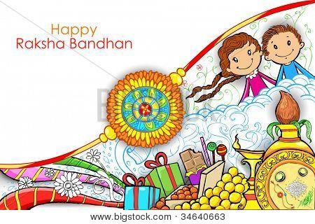 illustration of rakhi on Raksha Bandhan doodle