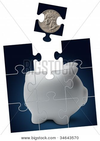 Puzzle And Piggy Bank