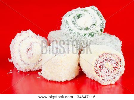 turkish delight on red background