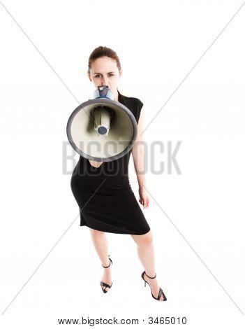 Shouting Caucasian Businesswoman