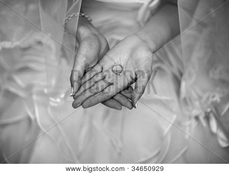 Wedding ring on bride palm, monotone