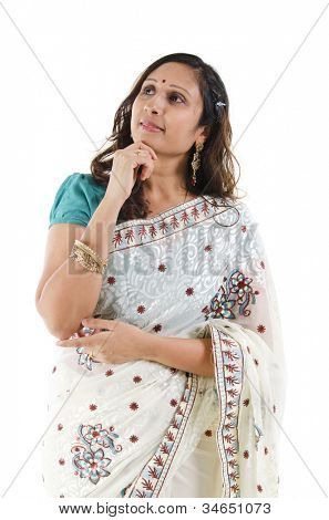 Beautiful Indian woman having a thought, isolated white background