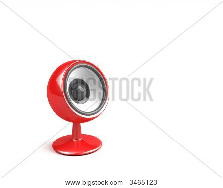 Red Speaker On Pedestal